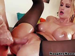 Busty Oiled Massage Babe Blake Rose Ass Fucked