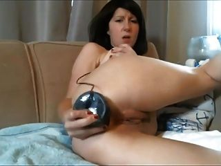 Diana - Webcam Milf Shoves A Huge Black Dildo In Her Ass