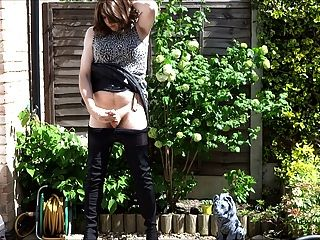 Sexy Masturbating Crossdresser In Thigh Boots Outdoors