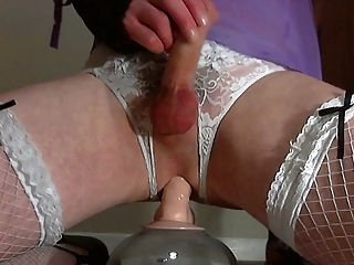 Triple Orgasm Fucking A Dildo In Lingerie :)