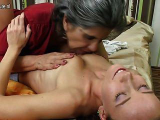 Pretty Teen Girl Fucks Old Lesbian Granny