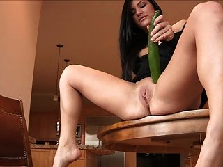 Hot Mature Brunette - Big Dildo & Deep Cucumber