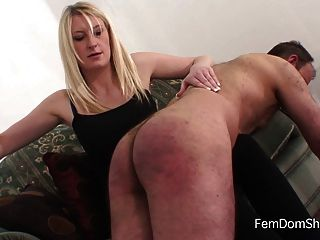 Armbinded subs spanked over the knee 7