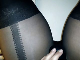 Wife In Tights Pantyhose Playing With Toy