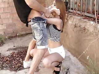 Spanish Slut Brenda Boop Sucks Monster Cock In Public