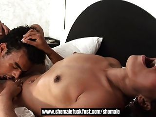 Brunette Shemale Fucks A Cute Hunk And A Dirty Milf