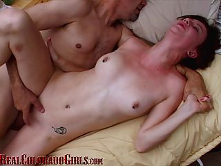 Hard Bodied Redhead Has Multiple Orgasms Fucking Old Man