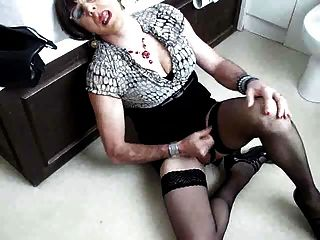 Mature Crossdresser Wanks Off A Load
