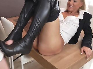 Sexy German Blonde In Leather Shorts