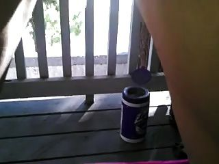 Creampie Dripping On Balcony
