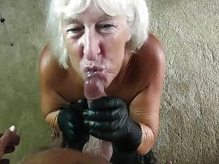 Gilf Leather Gloves Blowjob