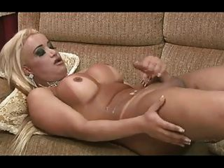 Tgirl With Nice Body Covers Her Stomach With Sperm.