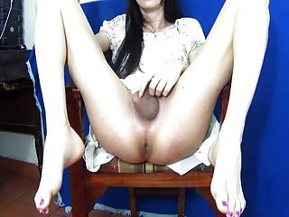 Busty brunette riding cock