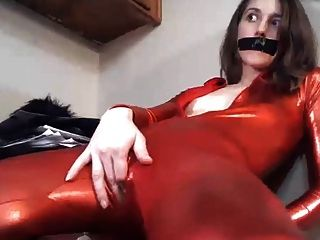Bodysuit Wearing Skinny Girl Plays With Pussy