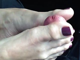 Mature Lady  Car Footjob