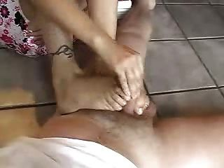 Beautiful Blonde Handjob Footjob