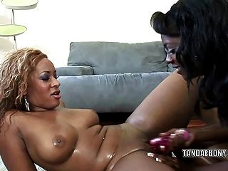 Black Slut Jordan Love Fucks Her Girlfriend With A Dildo