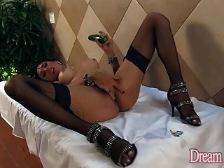 Sexy Shemale Sabrina De Castro With A Cucumber And A Cock