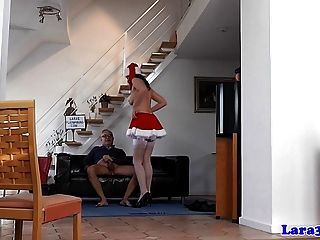 British Milf In Christmas Stockings Gets Cumshot