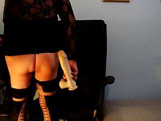 Solo black shemale posing and toying her ass