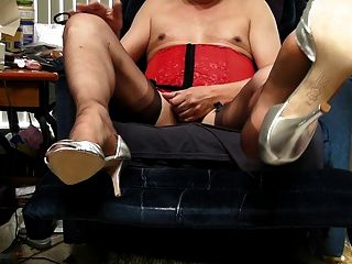 New Heels, Brown Rht Stockings, Basque And Cum