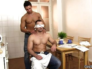 Hetero Hunk Takes His First Gay Cock
