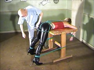 Table Tied And Spanked