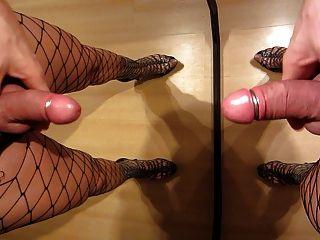 Ankle Boots Walk Wearing Fishnet Pantyhose