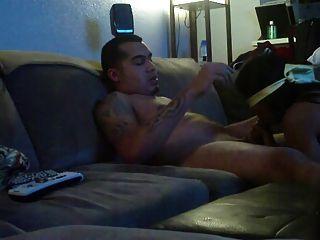 Latino Gets Blindfolded Bj On Sofa
