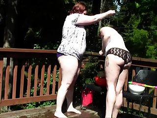 Chubby Geeky Girls Balloon Fight