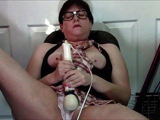 Geeky Chubby Girl Using Hitachi In White Panties