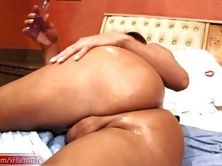 Shemale Strokes Her Lubed Shecock While Fingering Tight Ass
