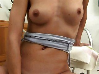 Teen Girl With Fair Hair Ticks Toy Deep Inside The Pussy