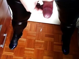 Another Cumshot In Wet Looking Leggins And Heels
