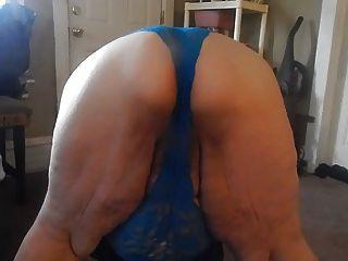 Ass Wigle Blue Panties
