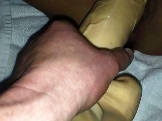 Big Dildo Shoved In Milf Pussy