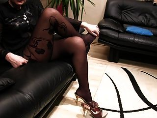 Pantyhosed Legs And High Heels Slipper Plays By A Milf
