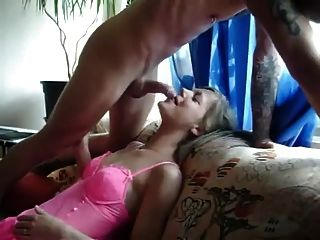 Sexy milf neighbor gives blow job amp swallows on couch