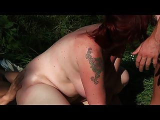 Bid Tits Milf Fucked Anal By 2 Young Sporty Guys - Outdoor !