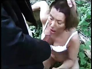 French Grannie Hard Sex With Young Man In Woods