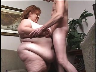 Grotesquely Obese White Chick Gets Titballed By Skinny Guy