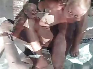 Mature Granny Threesome By The Pool