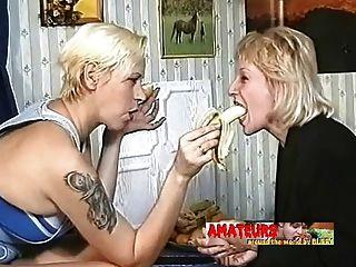 Old Lesbians Eating Banana And Make Foot Worship