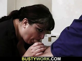 Huge Titted Secretary Pleases Boss