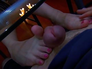 Pink Toes Under The Table Fj