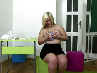 Chubby Young Blonde Girl Masturbates With Black Dildo