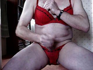 Cumming Wearing Bra And Panties