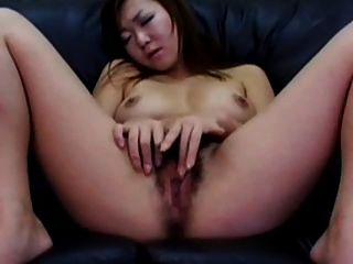 Japanese Woman Masturbating Her Hairy Pussy