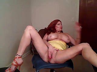 Hot Redhead Mature Cougar Smoking Solo