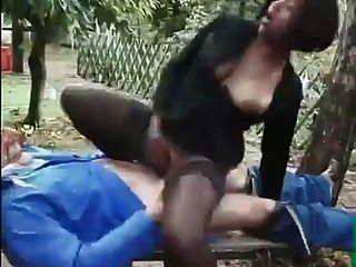 Old Man Makes  Ebony Woman Suck His Cock In Woods